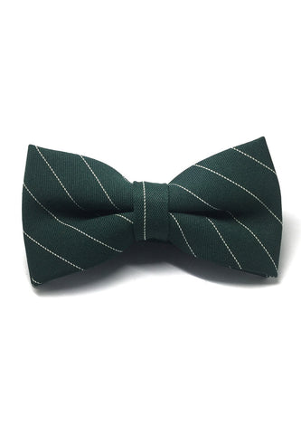Bars Series White Stripes Dark Green Cotton Pre-Tied Bow Tie
