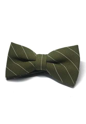 Bars Series White Stripes Dark Army Green Cotton Pre-Tied Bow Tie