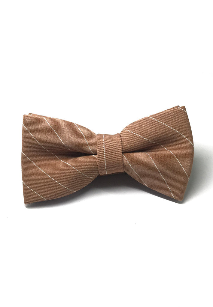 Bars Series White Stripes Apricot Cotton Pre-Tied Bow Tie