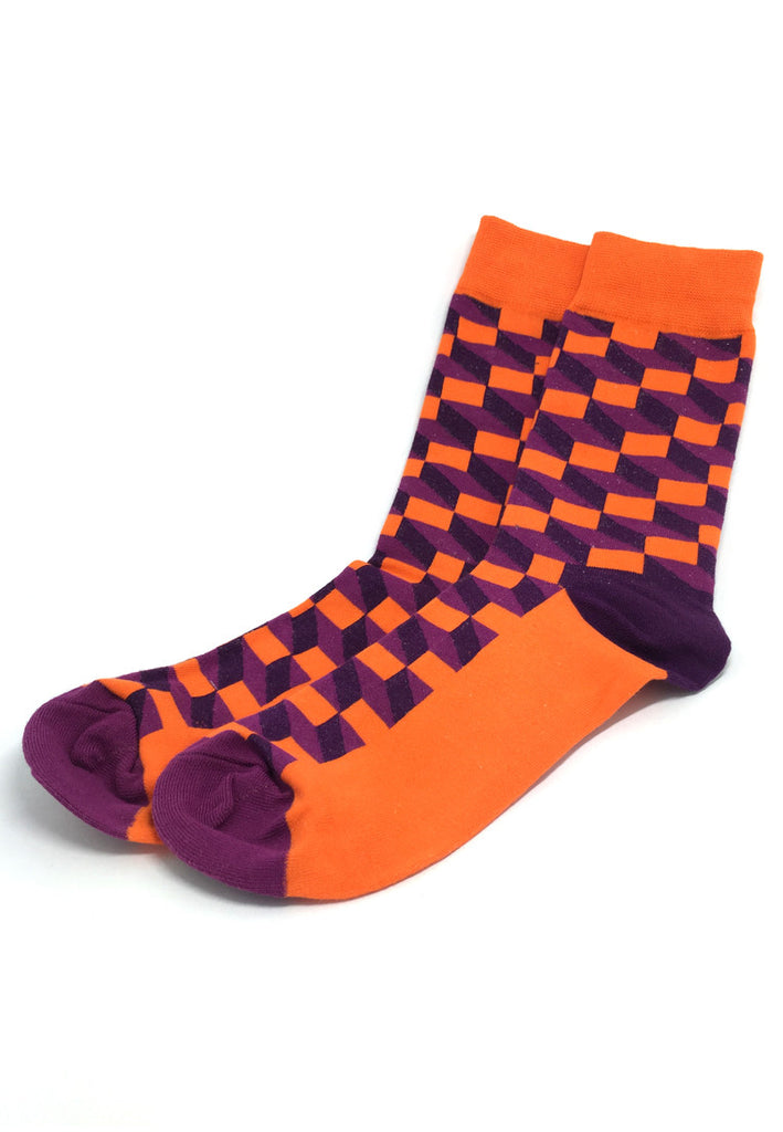 Zig Zag Series Multi Colour Swirl Design Purple, Black and Orange Socks