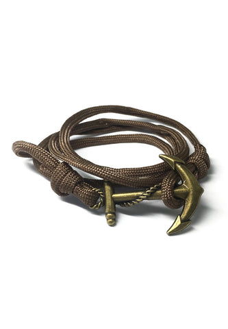 Ballast Series Brown Nylon Matt Gold Anchor Bracelet