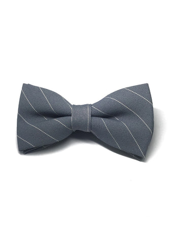 Bars Series White Stripes Blueish Grey Cotton Pre-Tied Bow Tie