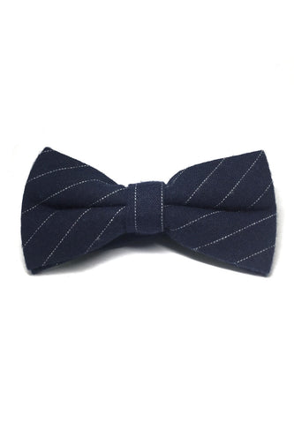 Bars Series White Stripes Navy Blue Cotton Pre-Tied Bow Tie