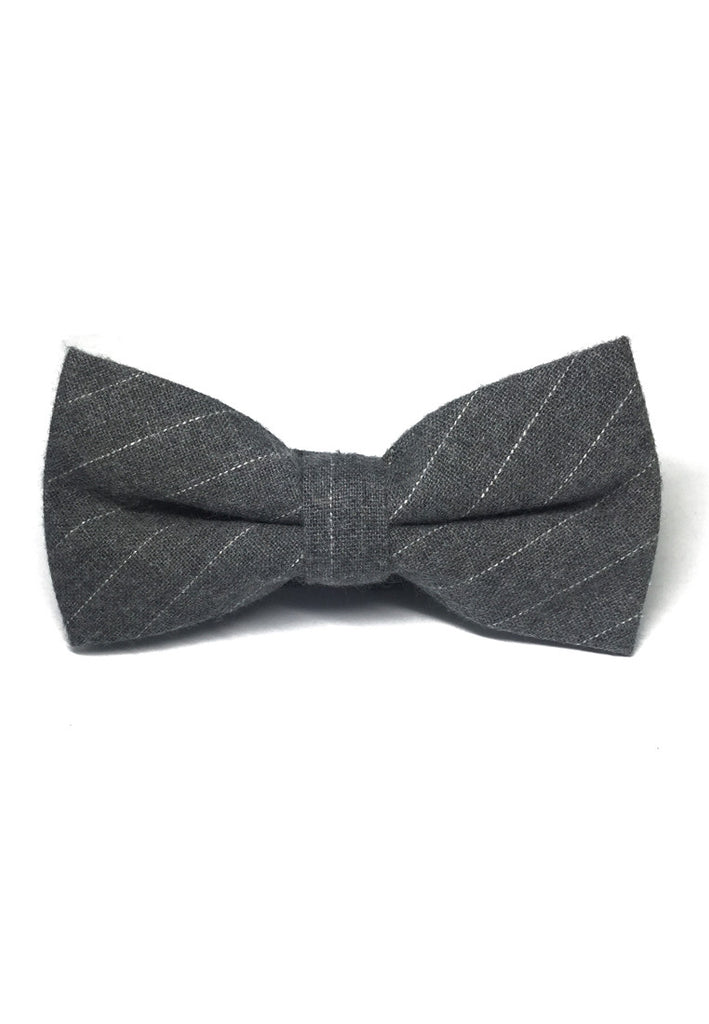 Bars Series White Stripes Grey Cotton Pre-Tied Bow Tie