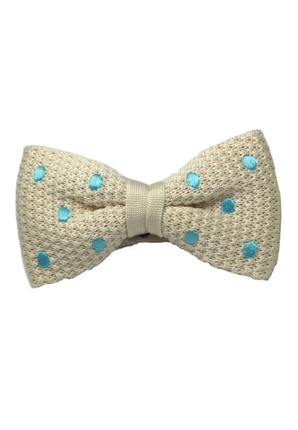 Webbed Series Baby Blue Polka Dots White Knitted Bow Tie