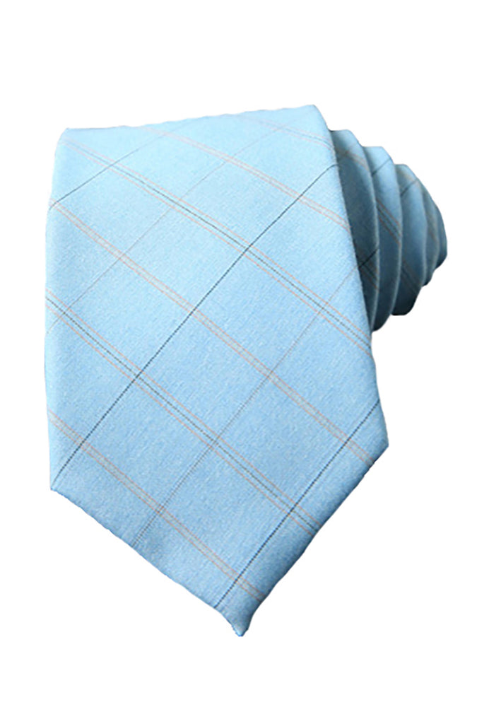 Tartan Series Baby Blue Cotton Neck Tie
