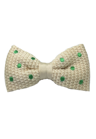 Webbed Series Green Polka Dots White Knitted Bow Tie