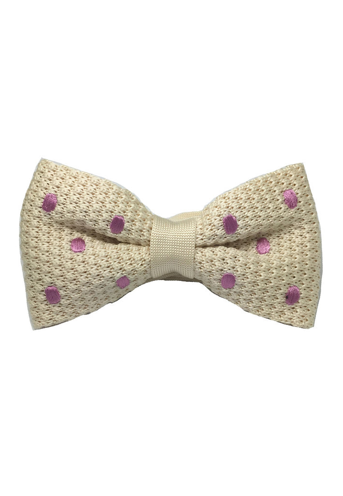 Webbed Series Light Purple Polka Dots White Knitted Bow Tie