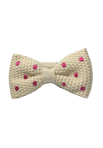 Webbed Series Bright Pink Polka Dots White Knitted Bow Tie