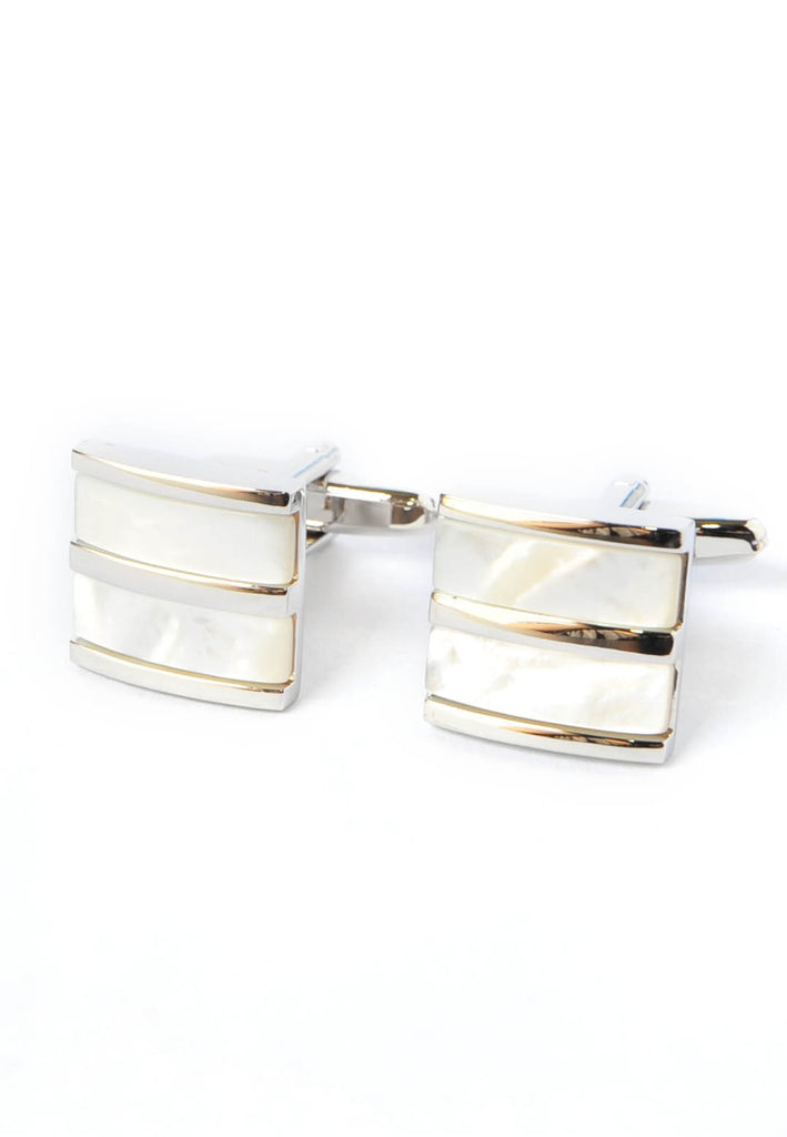 Pearlised White Curved Two Section Cufflinks