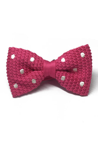 Webbed Series White Polka Dots Bright Pink Knitted Bow Tie