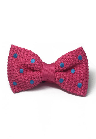 Webbed Series Baby Blue Polka Dots Bright Pink Knitted Bow Tie