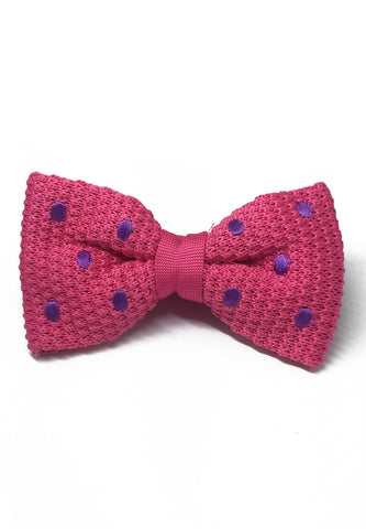 Webbed Series Purple Polka Dots Bright Pink Knitted Bow Tie