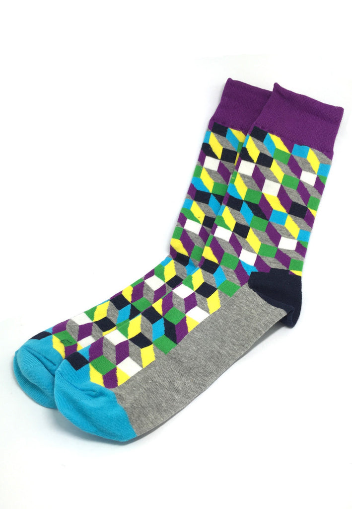 Zig Zag Series Multi Colour Swirl Design Grey, Turquoise, Yellow and Purple Socks