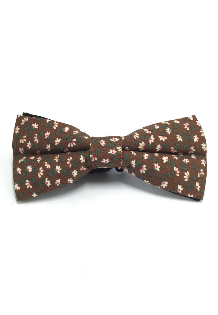 Blooming Series Brown Floral Design Cotton Pre-tied Bow Tie