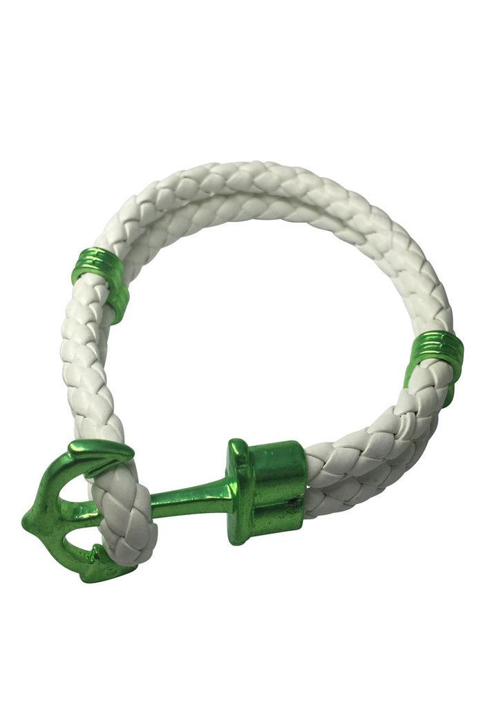 Grapple Series White PU Leather Green Anchor Bracelet