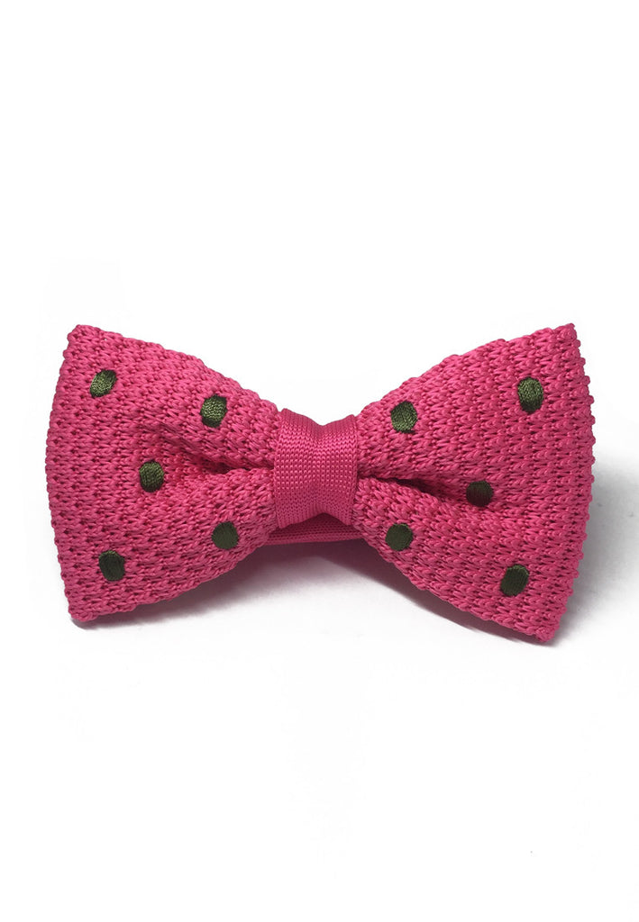 Webbed Series Green Polka Dots Bright Pink Knitted Bow Tie