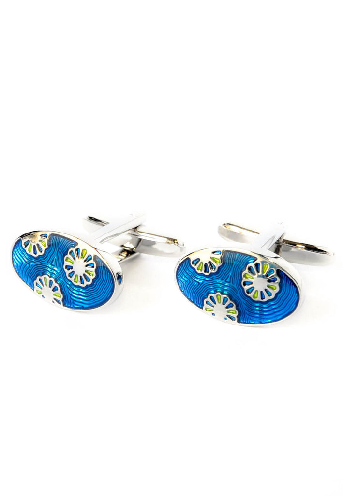 Oval Floral Enamelled High quality Cufflinks