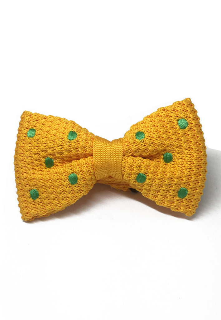 Webbed Series Green Polka Dots Light Orange Knitted Bow Tie
