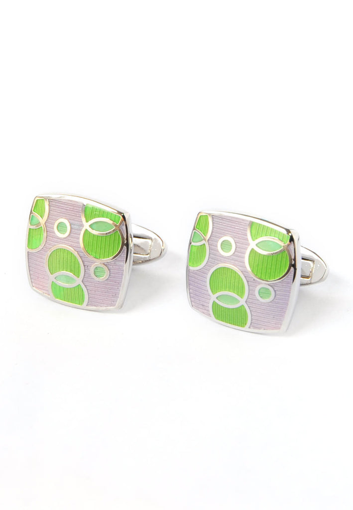 Green & Pink Enamelled Bubble Design Cufflinks