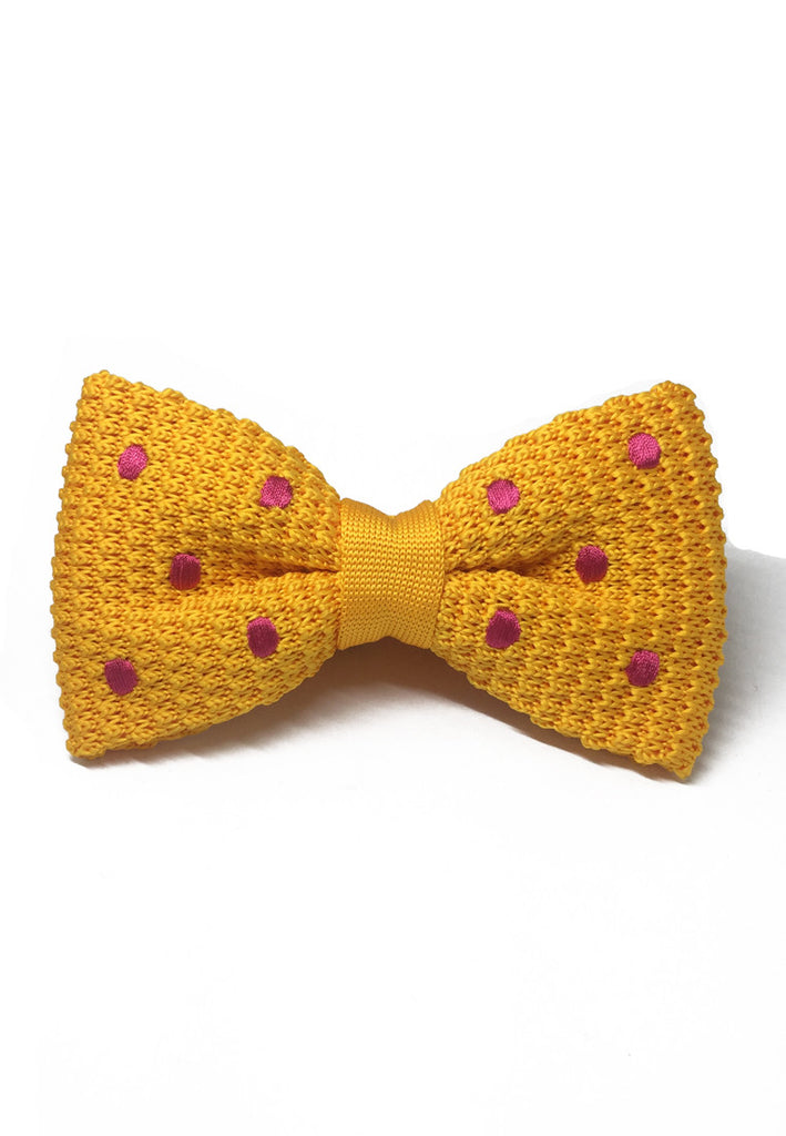 Webbed Series Pink Polka Dots Light Orange Knitted Bow Tie
