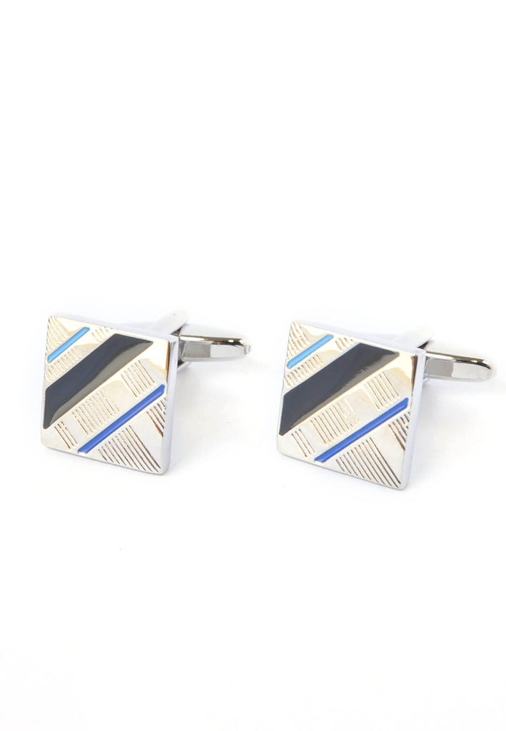 Blue Striped Squares Design Cufflinks
