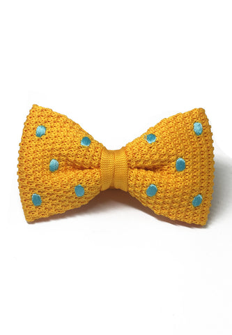 Webbed Series Baby Blue Polka Dots Light Orange Knitted Bow Tie