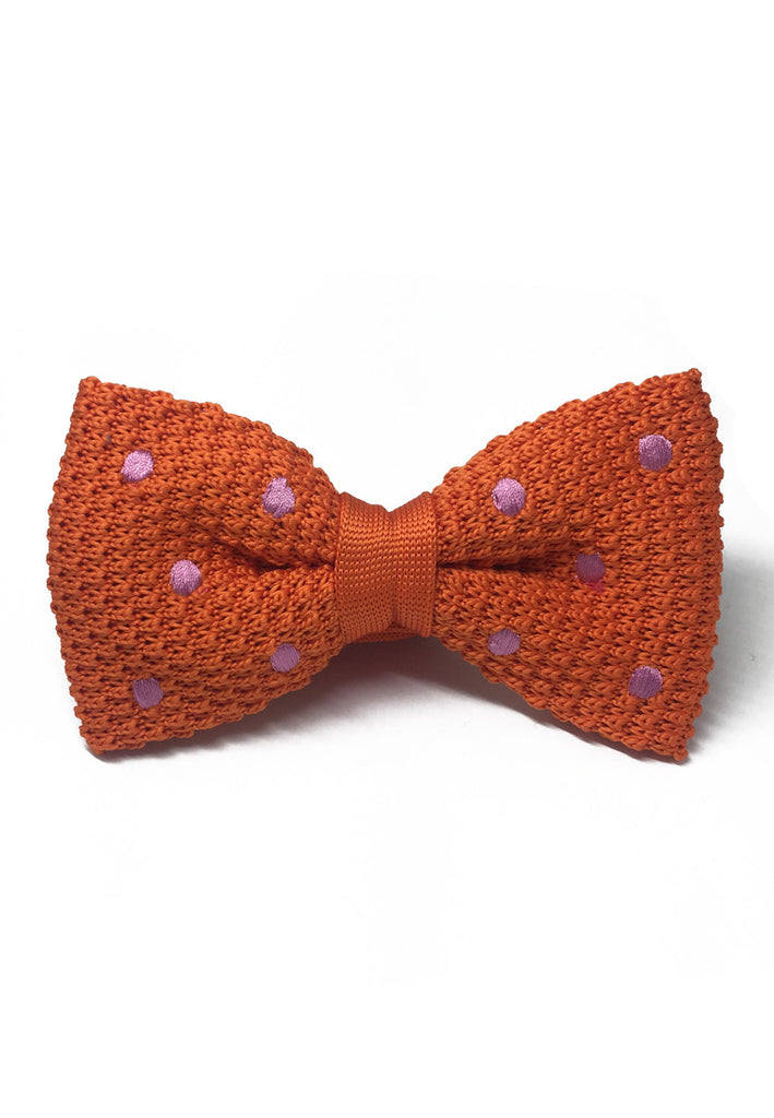 Webbed Series Light Purple Polka Dots Orange Knitted Bow Tie