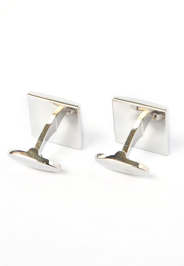 Rhodium Plated Red Ste High end Enamelled Cufflinks with Fancy Fittings