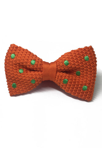 Webbed Series Green Polka Dots Orange Knitted Bow Tie