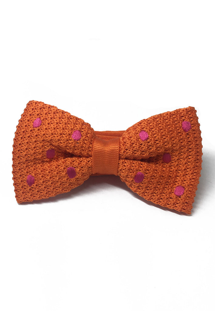 Webbed Series Bright Polka Dots Orange Knitted Bow Tie