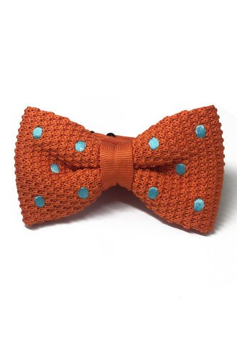 Webbed Series Baby Blue Polka Dots Orange Knitted Bow Tie