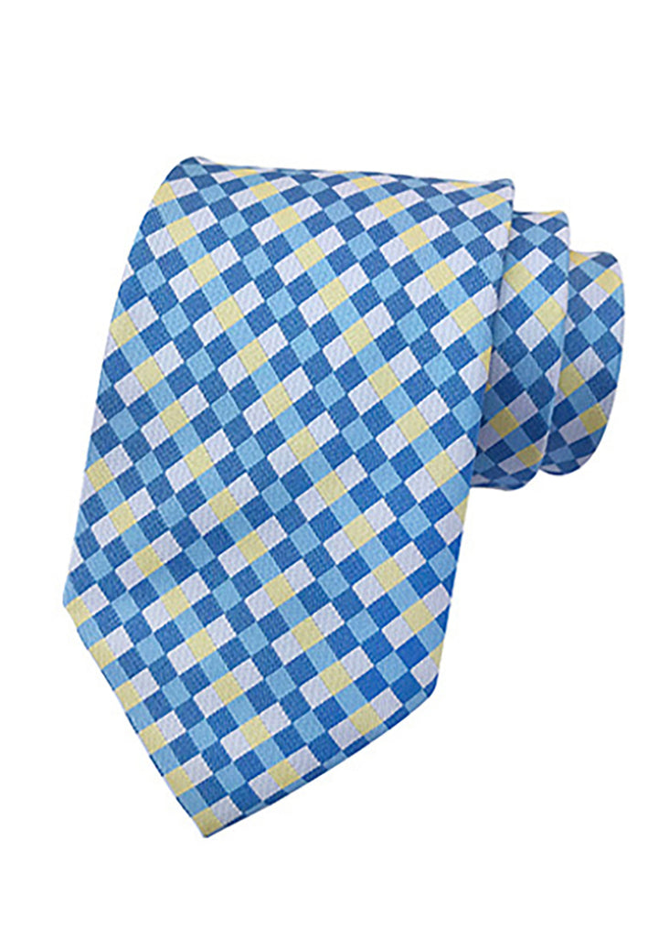 Medley Series Checked Design Blue Neck Tie