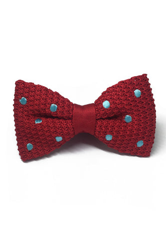 Webbed Series Baby Blue Polka Dots Red Knitted Bow Tie