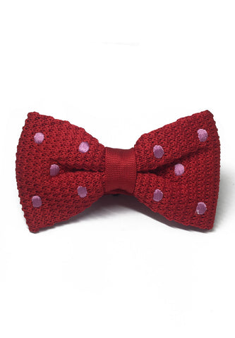 Webbed Series Baby Pink Polka Dots Red Knitted Bow Tie