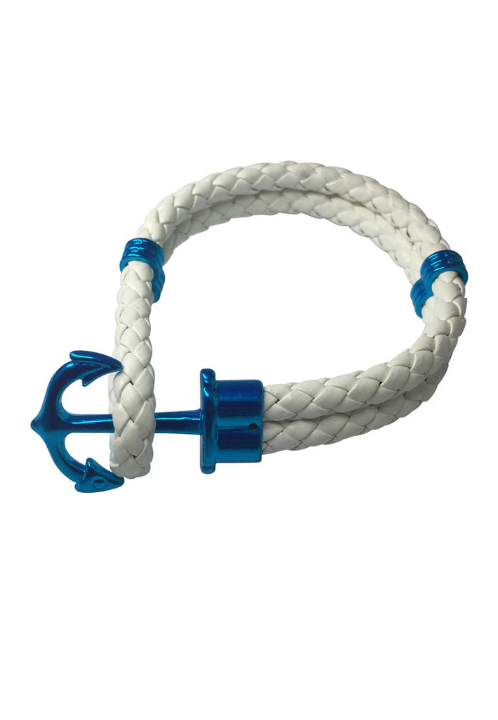 Grapple Series White PU Leather Blue Anchor Bracelet