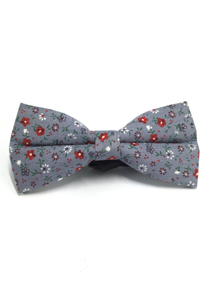 Blooming Series Greyish Blue Floral Design Cotton Pre-tied Bow Tie