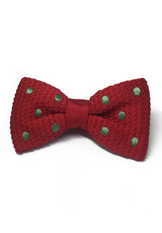 Webbed Series Green Polka Dots Red Knitted Bow Tie