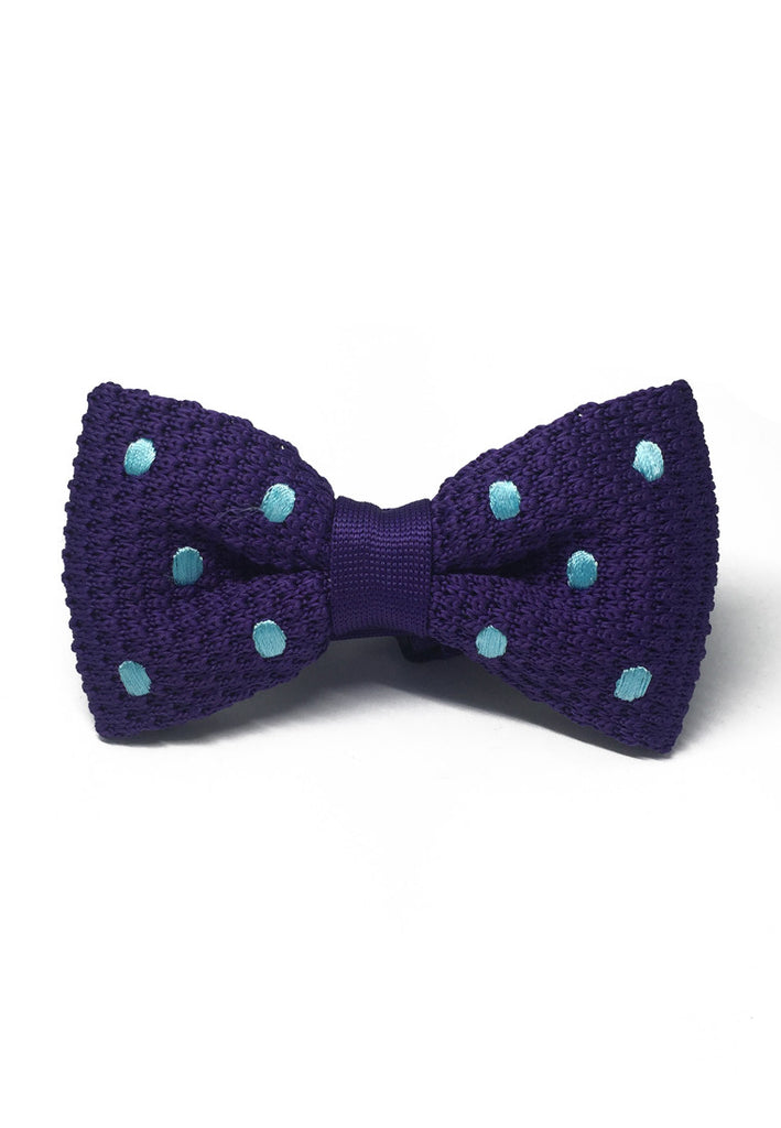 Webbed Series Baby Blue Polka Dots Purple Knitted Bow Tie