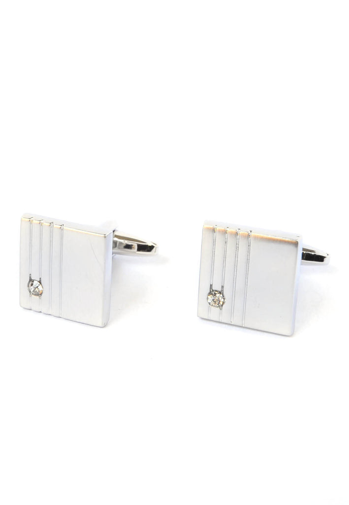 Square Brushed Effect Lined with Crystal Cufflinks