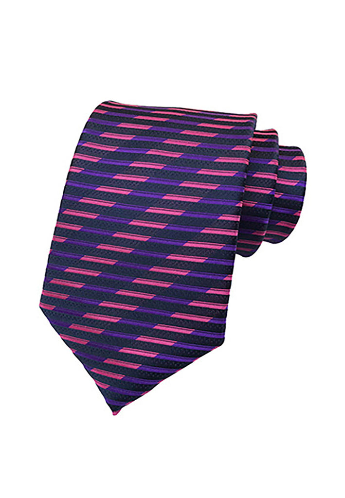 Medley Series Grid Stripes Design Purple and Pink Neck Tie