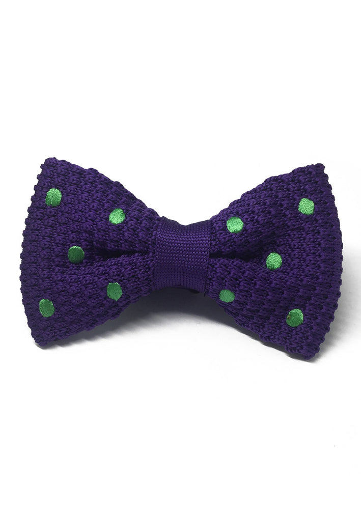 Webbed Series Green Polka Dots Purple Knitted Bow Tie