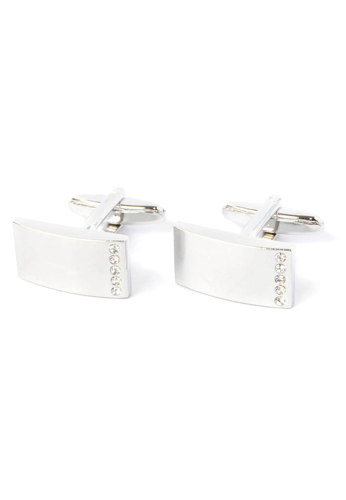 Curved Rectangular Cufflinks Brushed Finish with Crystal