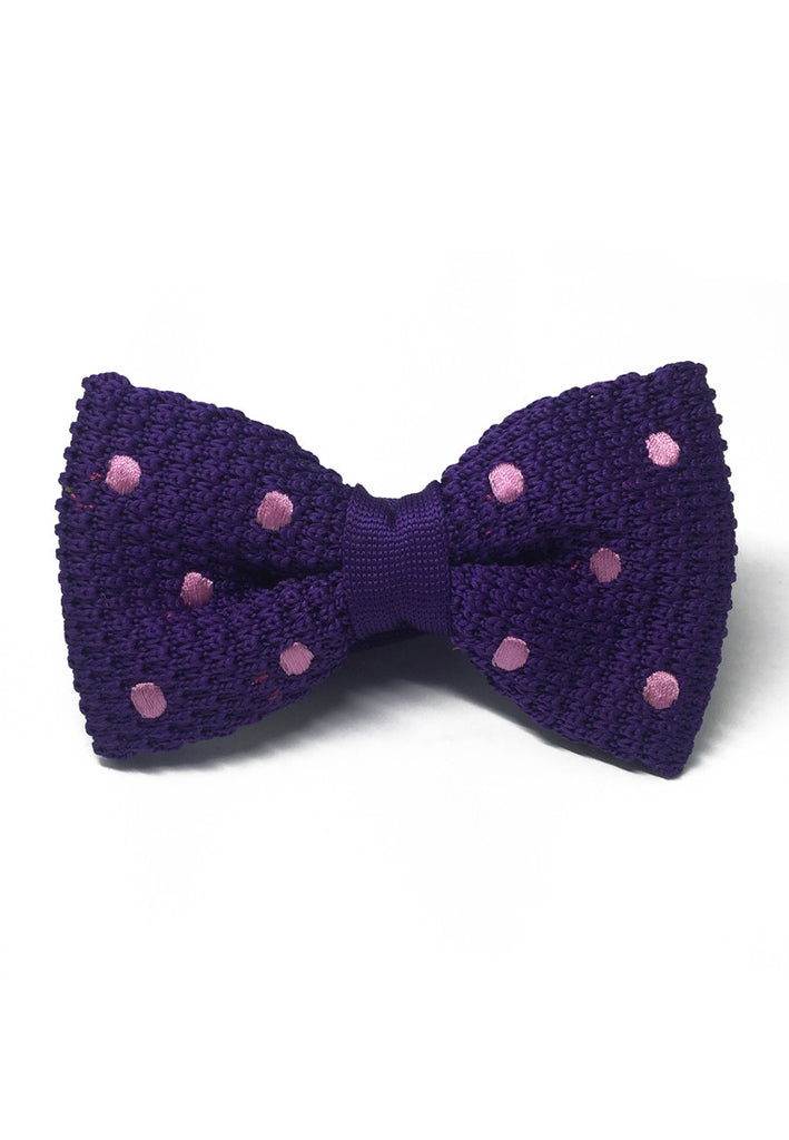 Webbed Series Baby Pink Polka Dots Purple Knitted Bow Tie
