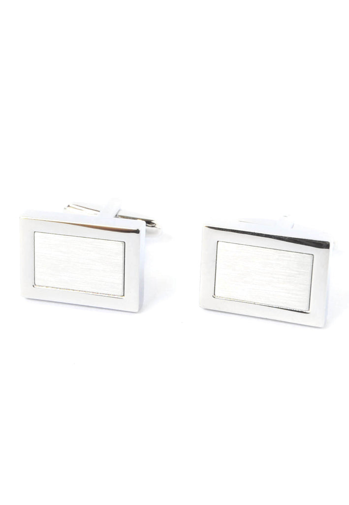 Brushed Silver Rectangular Framed Cufflinks