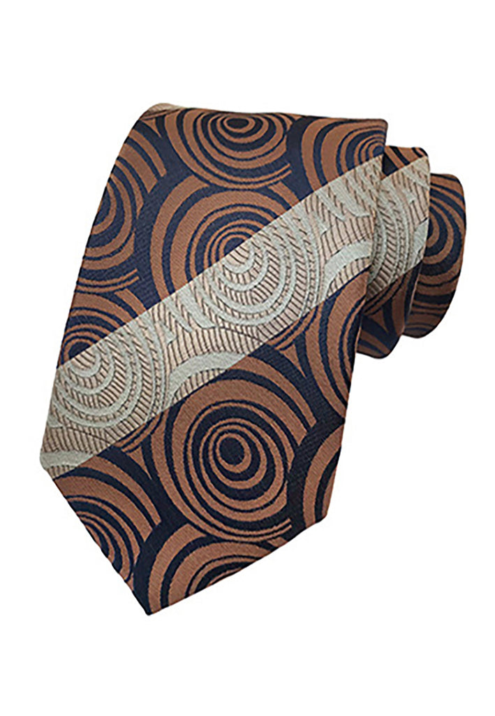 Medley Series Circles Design Brown Neck Tie