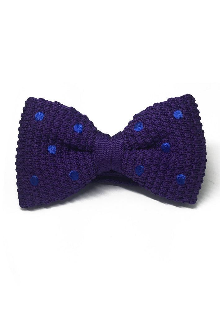 Webbed Series Blue Polka Dots Purple Knitted Bow Tie
