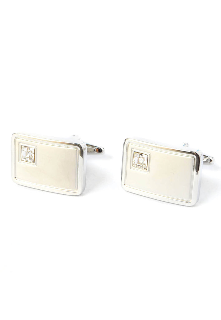 Brushed Silver Cufflinks with Crystal in Corner