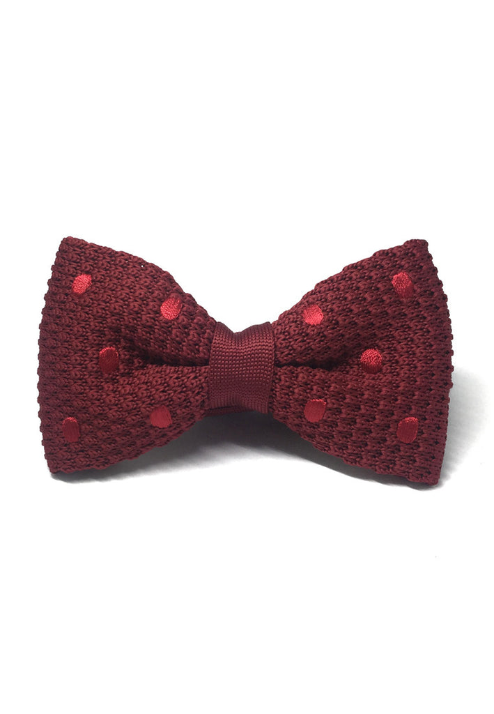 Webbed Series Red Polka Dots Maroon Red Knitted Bow Tie