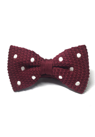 Webbed Series White Polka Dots Maroon Red Knitted Bow Tie